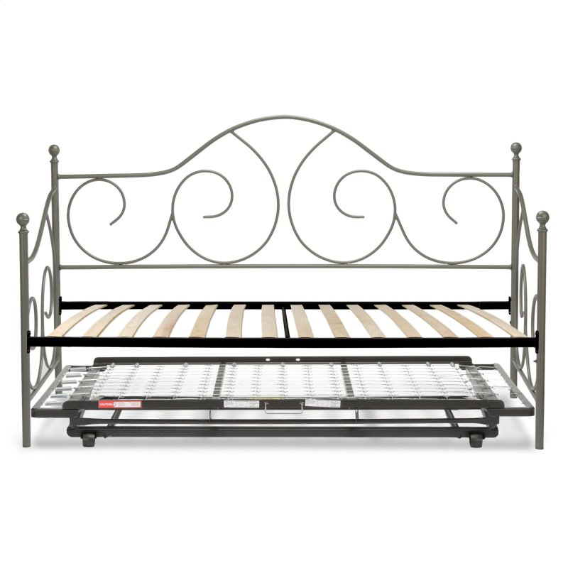 caroline complete metal daybed with euro top deck and trundle bed pop up frame - Metal Trundle Bed Frame