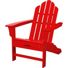 All-Weather Contoured Adirondack Chair with Hideaway Ottoman- Sunset Red