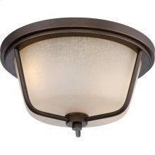 LED Outdoor Flush Fixture with Champagne Linen Glass