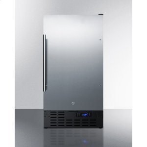 """Summit18"""" Wide Frost-free Freezer Built-in or Freestanding Use, With Stainless Steel Exterior, Lock, and Digital Thermostat"""