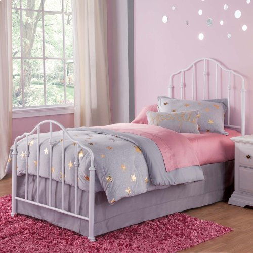 Lorna Kids Bed with Metal Duo Panels and Accented Spindles, Warm White Finish, Twin