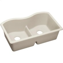 "Elkay Quartz Luxe 33"" x 20"" x 9-1/2"", Equal Double Bowl Undermount Sink with Aqua Divide, Ricotta"