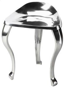 Made of cast aluminum, this tripod stool is sleek and fashionable. Its curved legs and low back add that modern touch your home or office has been looking for.