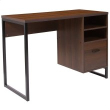 Rustic Coffee Wood Grain Finish Computer Desk with Black Metal Frame
