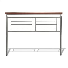 Fontane Metal Headboard Panel with Geometric Grill and Rounded Cherry Wood Color Top Rail, Silver Finish, Queen