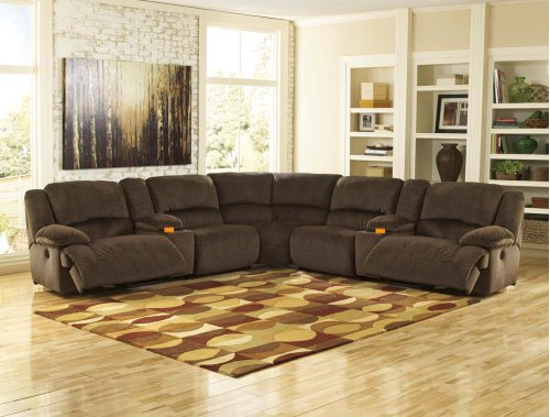 5-Piece Reclining Sectional with RAF Recliner
