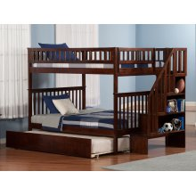 Woodland Staircase Bunk Bed Full over Full with Urban Trundle Bed in Walnut