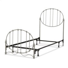 Emory Complete Kids Bed with Metal Duo Panels and Oval Shape Design, Grey Finish, Twin