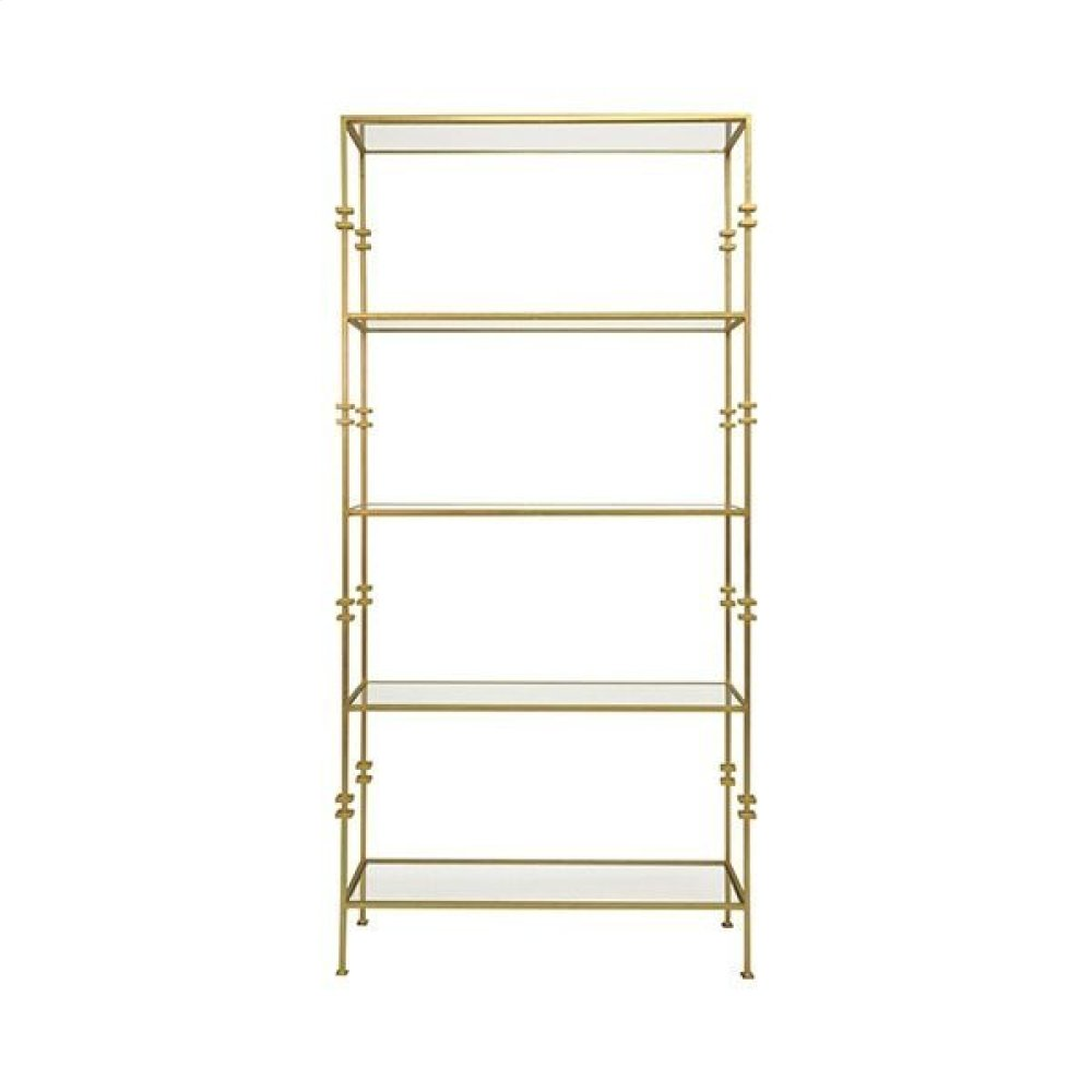 Tall Etagere With Square Iron Rings In Gold Leaf