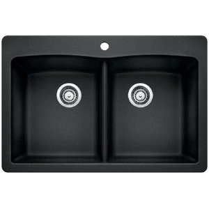 Blanco Diamond Equal Double Bowl With Ledge - Anthracite