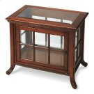 Selected solid woods and choice oak veneers. Beveled glass top. Three glass sides and door with antique brass finished hardware. Adjustable glass shelf. Product Image