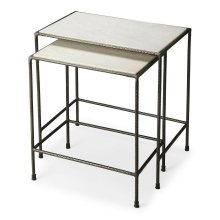 "Do you have space issues in your home"" These iron and marble nesting tables have and attractive white marble top, their uses are numeral. These tables have been made using quality materials; in a contemporary style. Just use them and then tuck them away."