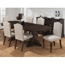 Grand Terrace Double Pedestal Dining Table With Six Side Chairs