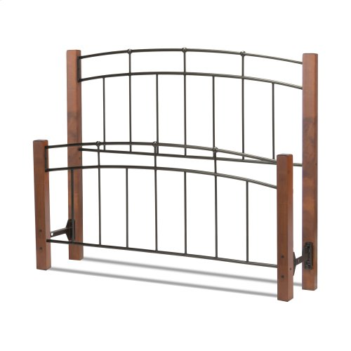 Benson Metal Headboard and Footboard Bed Panels with Maple Wood Posts and Sloping Top Rails, Black Finish, Full