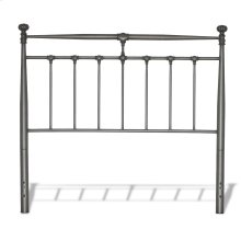 Kensington Metal Headboard Panel with Stately Posts and Detailed Castings, Vintage Silver Finish, King
