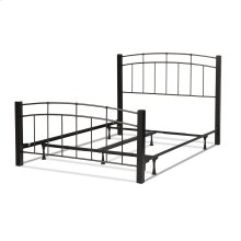 Scottsdale Complete Metal Bed and Steel Support Frame with Dark Espresso Wood Posts and Sloping Top Rails, Black Speckle Finish, Queen