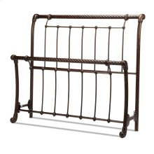Legion Metal Sleigh-Styled Headboard and Footboard Bed Panels with Twisted Rope Top Rails, Ancient Gold Finish, California King