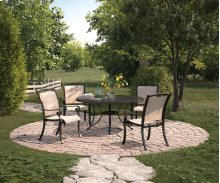 Bass Lake - Beige/Brown 5 Piece Patio Set (Table and 4 Chairs)