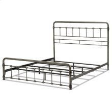 Fremont Metal SNAP Bed with Folding Frame Bedding Support System and Rounded Edge Panels, Weathered Nickel Finish, Queen