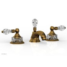 LOUIS XIV CUT CRYSTAL Widespread Faucet Cut Crystal Lever Handles K180 - French Brass