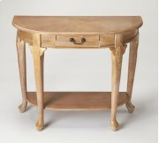 A weathered Driftwood finish adds casual sophistication to this traditional console table. Crafted from rubberwood solids, wood products and choice cherry veneers, it features four Queen Anne-inspired legs with a storage drawer and display shelf for stora Product Image