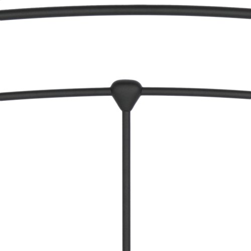Sanford Metal Headboard and Footboard Bed Panels with Castings and Round Finial Posts, Matte Black Finish, King