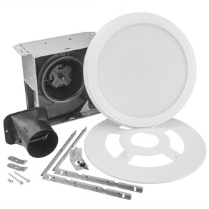 BroanRoomside Series Single Speed 110 CFM Humidity Sensing Decorative Bathroom Exhaust Fan with Round Flat Panel LED Light, ENERGY STAR certified