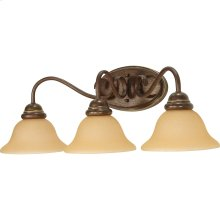 3-Light Wall Mounted Vanity Light Fixture in Sonoma Bronze with Champagne Glass