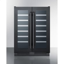 Built-in Undercounter Dual Zone Wine Cellar With French Glass Doors In Matte Black Stainless Steel Trim