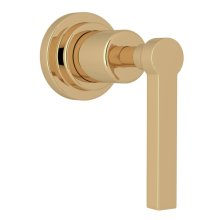 Unlacquered Brass Lombardia Trim For Volume Control And 4-Port Dedicated Diverter with Metal Lever