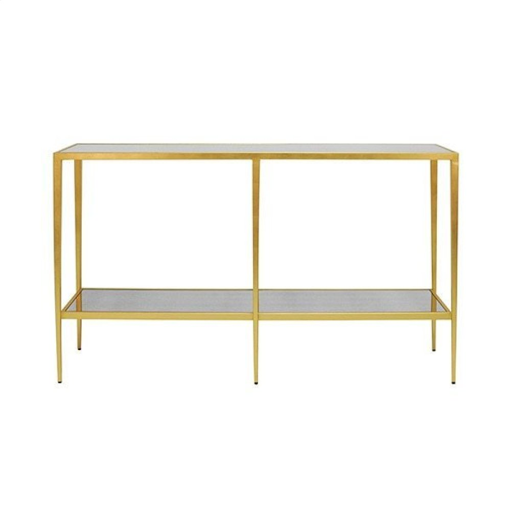Tapered Leg Console In Gold Leaf with Antique Mirror