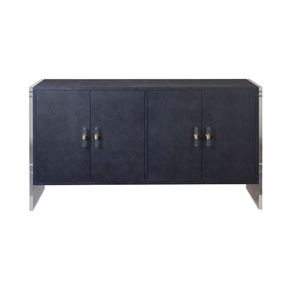 Four Door Cabinet With Acrylic Sides and Hardware In Navy Faux Shagreen