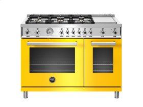 48 inch All-Gas Range 6 Brass Burner and Griddle Yellow