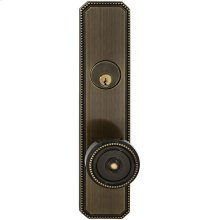 Exterior Traditional Mortise Beaded Entrance Knob Lockset with Plates in (SB Shaded Bronze, Lacquered)