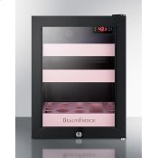 Beautifridge Compact Cosmetics Refrigerator With Glass Door, Black Cabinet, Lock, Matte Blush Pink Shelves, and Digital Controls Set for the Storage of Beauty Products
