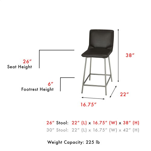 Pierre Swivel Seat Counter Stool with Stainless Steel Finished Metal Frame and Cappuccino Faux Leather Upholstery, 26-Inch Seat Height