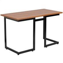 Cherry Computer Desk with Black Metal Frame