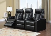 Camden Black Bonded Leather 3-Piece Reclining Theater Set Product Image