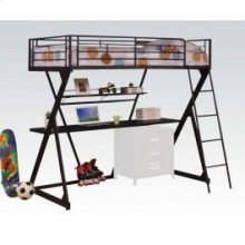 Black Loft Bed W/desk , Shelf