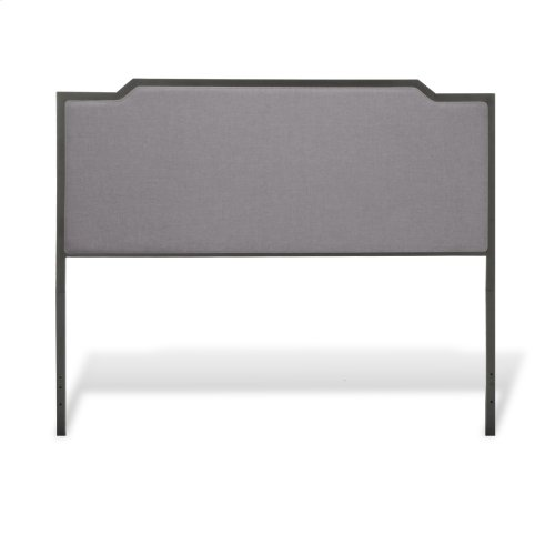 Bayview Metal Bed with Gray Dove Upholstered Headboard and Footboard, Black Pearl Finish, Full