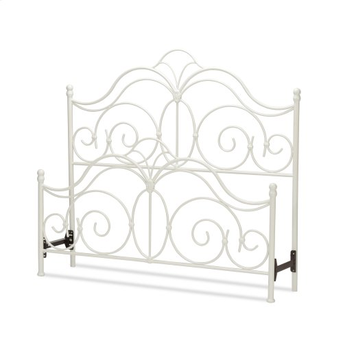Rhapsody Metal Headboard and Footboard Bed Panels with Delicate Scrolls and Finial Posts, Glossy White Finish, Queen