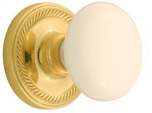 Nostalgic - Single Dummy Knob - Rope Rosette with White Porcelain Knob in Unlacquered Brass