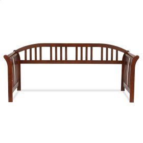 Salem Wood Daybed Frame with Curved Back Panel and Sleigh Arms, Mahogany Finish, Twin