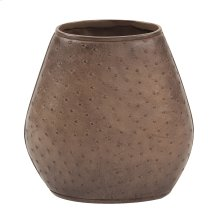 Walnut Brown Faux Leather Ostrich Vase, Small