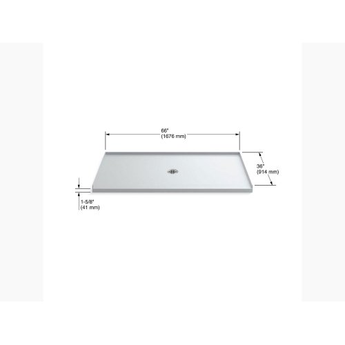 """White 66"""" X 36"""" Shower Base With Center Drain"""