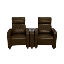 Arcadia Brown Push-Back 2-Piece Reclining Theater Set