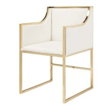 "White Linen Dining & Occasional Chair With Brass Frame. Seat Height: 20"" Arm Height: 28"""