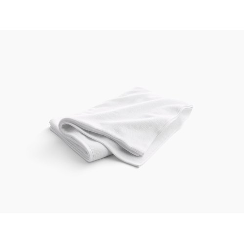 """White Bath Sheet With Textured Weave, 35"""" X 70"""""""