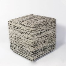 "F803 Black & White Viscose Pouf 18"" X 18"" X 18"""