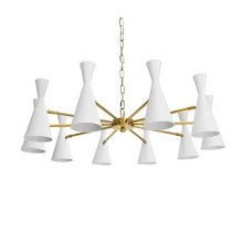 Ten Light Chandelier With Hour Glass Matte White Shades In Antique Brass